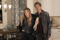 "Drew Barrymore, left, and Timothy Olyphant, right, in a scene from ""Santa Clarita Diet."""