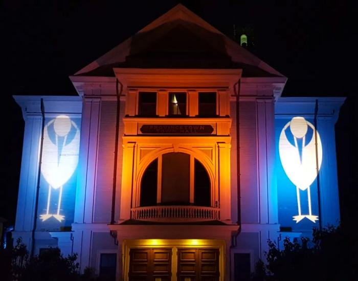 The exterior of Provincetown Town Hall during a recent film festival