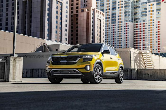 This undated photo from Kia shows the Seltos, an extra-small SUV that gets an EPA-estimated 31 mpg in mixed driving conditions