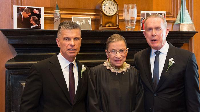 Justice Ruth Bader Ginsburg officiated was for Ralph Pellecchio and Dr. James Carter Wernz.