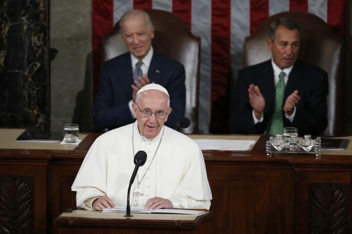 Pope Francis addresses a joint meeting of Congress on Capitol Hill in Washington.