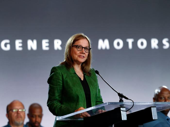 In this July 16, 2019 file photo, General Motors Chairman and Chief Executive Officer Mary Barra speaks during the opening of their contract talks with the United Auto Workers in Detroit