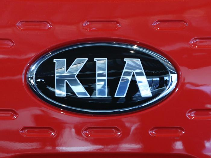This file photo shows the logo of Kia Motors during an unveiling ceremony on Dec. 13, 2017, in Seoul, South Korea