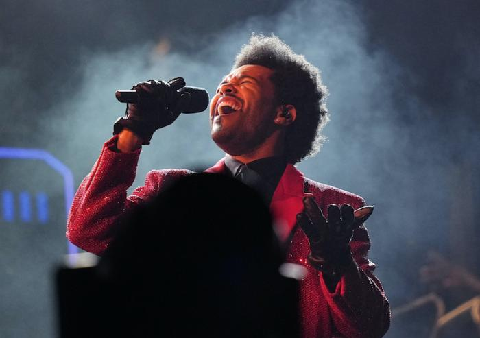 The Weeknd performs during the halftime show of the NFL Super Bowl 55 game.