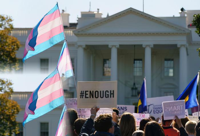 Protesters gather in front of the White House in October for a #WontBeErased rally after reports that the Trump administration plans to exclude transgender and nonbinary people from its legal definition of gender.