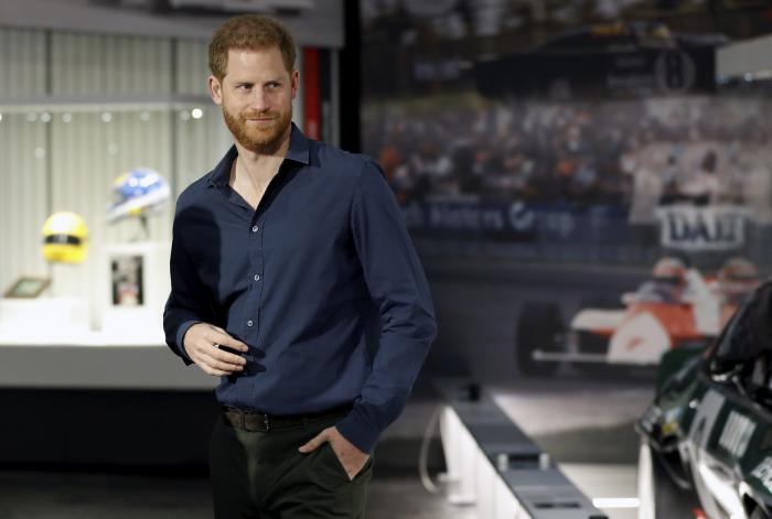 Britain's Prince Harry visits the Silverstone Circuit, in Towcester, England.